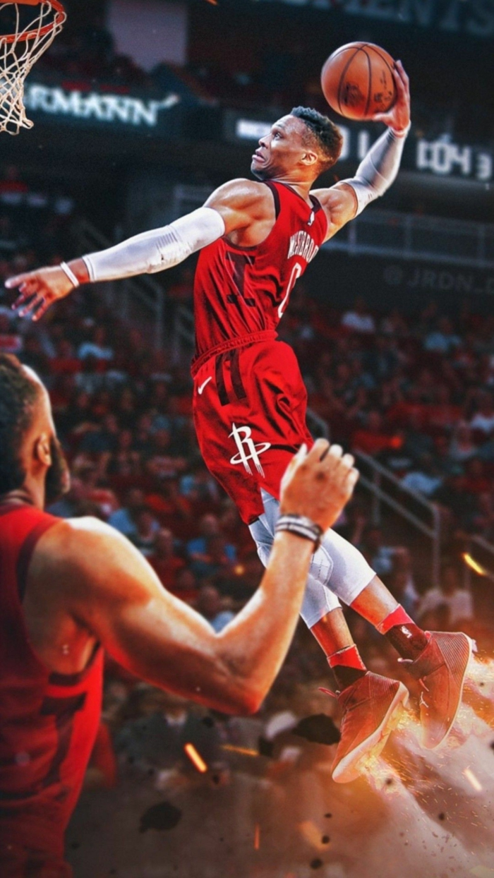 russel westbrook, dunking the ball, best nba wallpapers, wearing houston rockets uniform