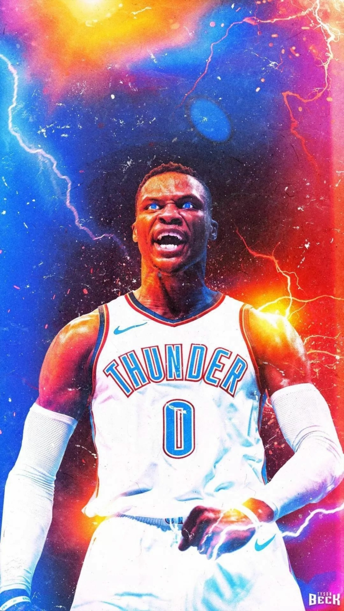 basketball player wallpaper, russell westbrook, wearing oklahoma city thunder uniform, photo edit