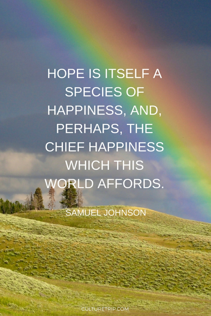 background photo of a rainbow over a field, spiritual words of encouragement, samuel johnson quote