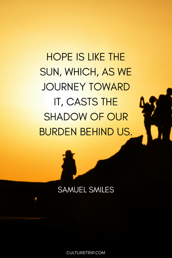 samuel smiles quote, written with black letters, spiritual words of encouragement, background photo of sunset