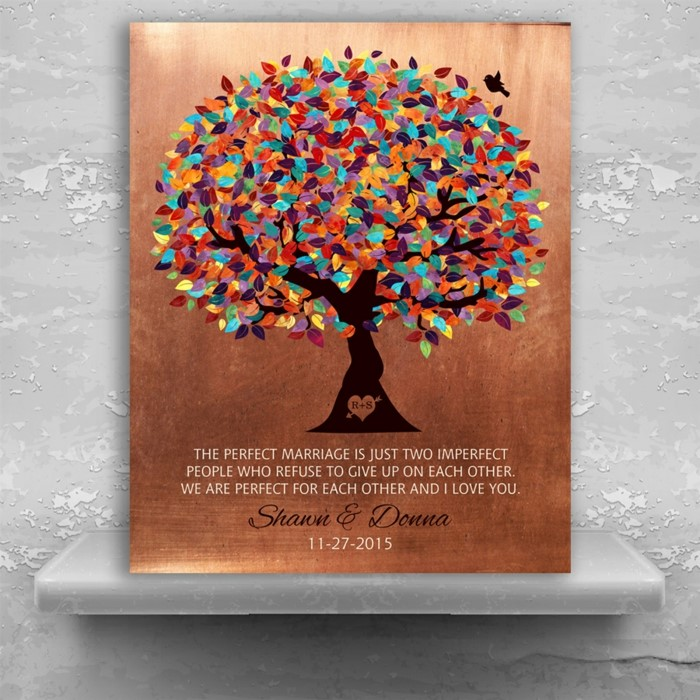 personalised for shawn and donna, copper poster with tree drawn on it, traditional anniversary gifts, congratulatory message written on it