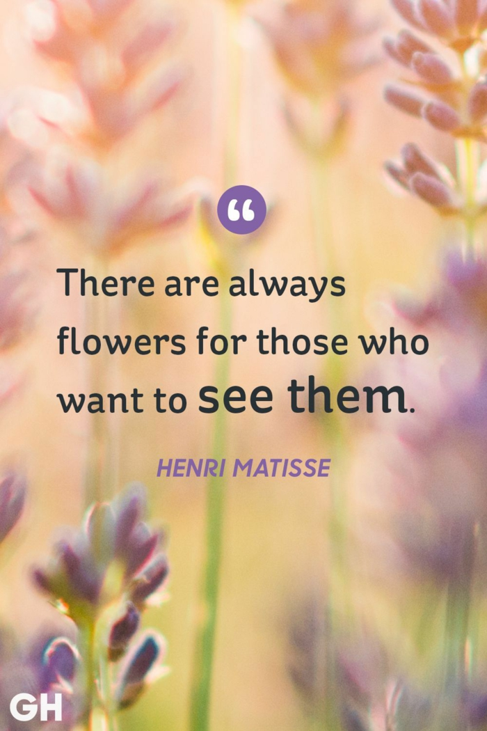 henri matisse quote, written with black letters, background photo of flowers, spiritual words of encouragement