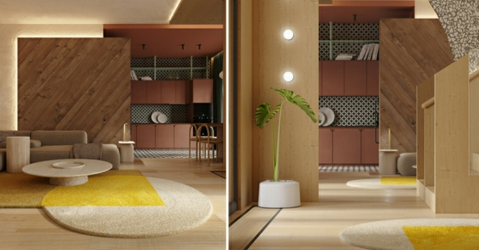 side by side photos, interior design ideas for living room, wooden room separator, carpet in white and yellow
