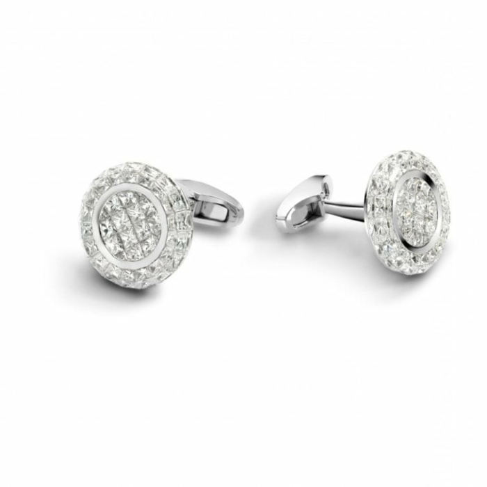 silver cufflinks with diamonds, anniversary gifts for couples, placed on white surface