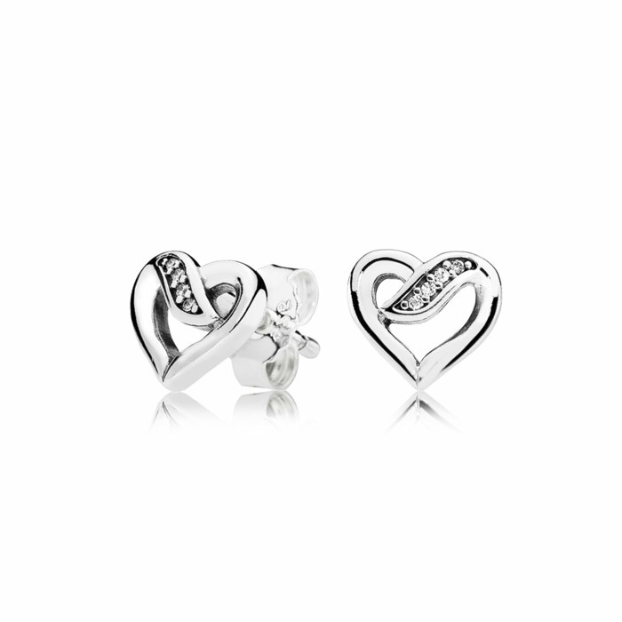 silver heart shaped earrings, decorated with a few rhinestones, 10th anniversary gift, white background