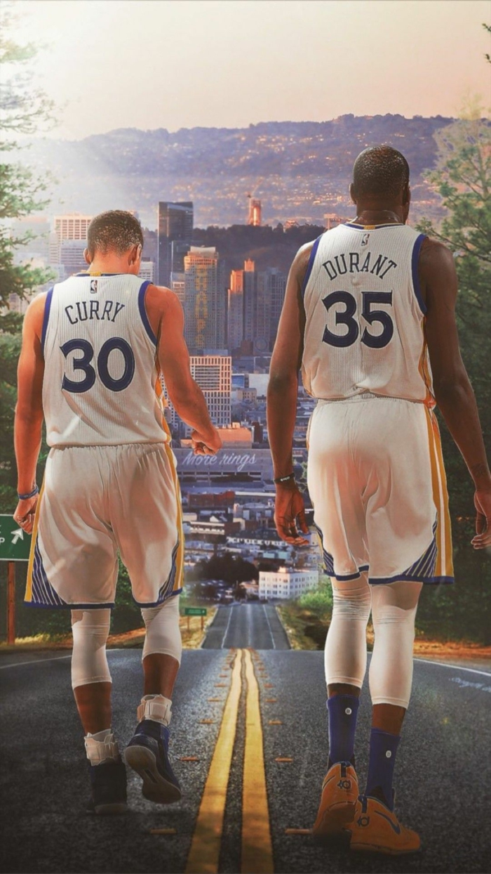 stepehn curry and kevin durant, nba wallpaper, wearing golden state warriors uniforms, walking down a road