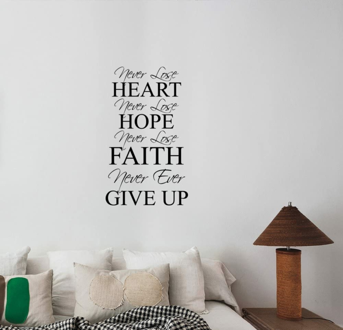 sticker for the wall, quotes about hope for the future, sticker on a white wall over a bed, white throw pillows
