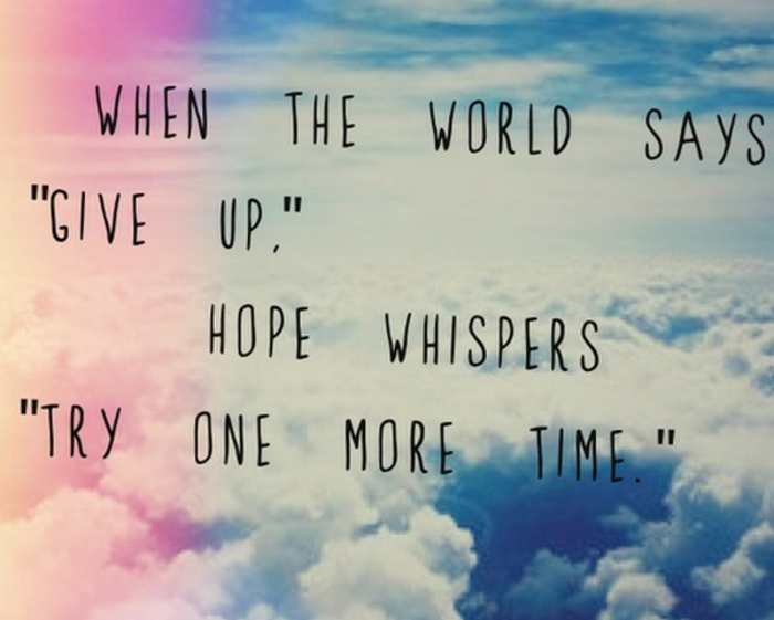 quotes about hope for the future, written with black letters, background photo from above the clouds