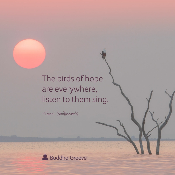 positive hopes quote, terri giuillemets quote, the birds of hope are everywhere listen to them sing