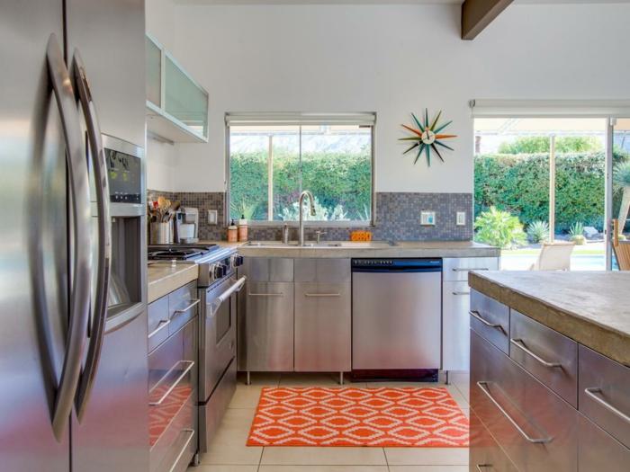 white tiles on the floor, mid century modern floor tile, granite countertops, orange carpet, mosaic backsplash