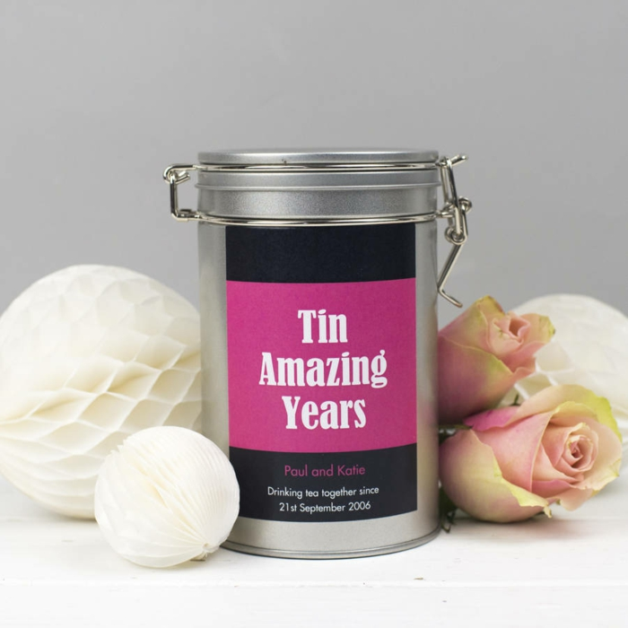 tin amazing years, tea can, 40th anniversary gifts, personalised label for paul and katie