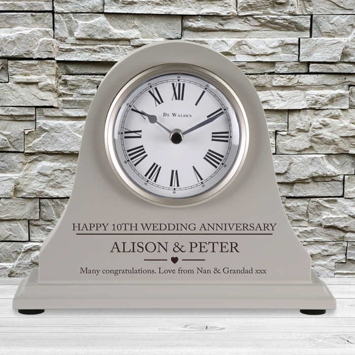 tin clock, personalised for alison and peter, 40th anniversary gifts, stone wall in the background