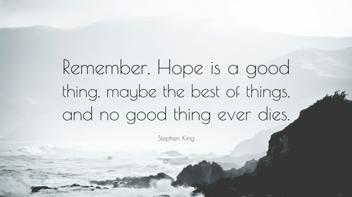 stephen king quote, quotes about hope and love, written with black letters, background photo of waves crashing into rocks