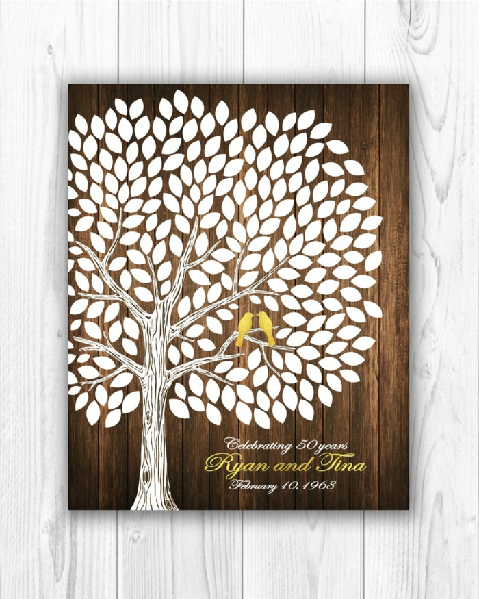 traditional wedding anniversary gifts, drawing of a tree on wooden block, gold birds and letters, personalised for ryan and tina