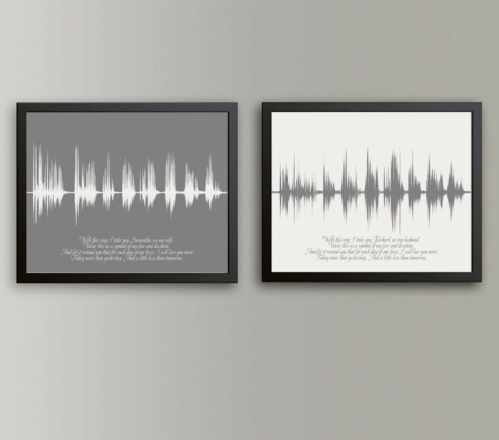 voice recordings of the vows, anniversary gifts by year, hanging on grey wall, inside black wooden frames