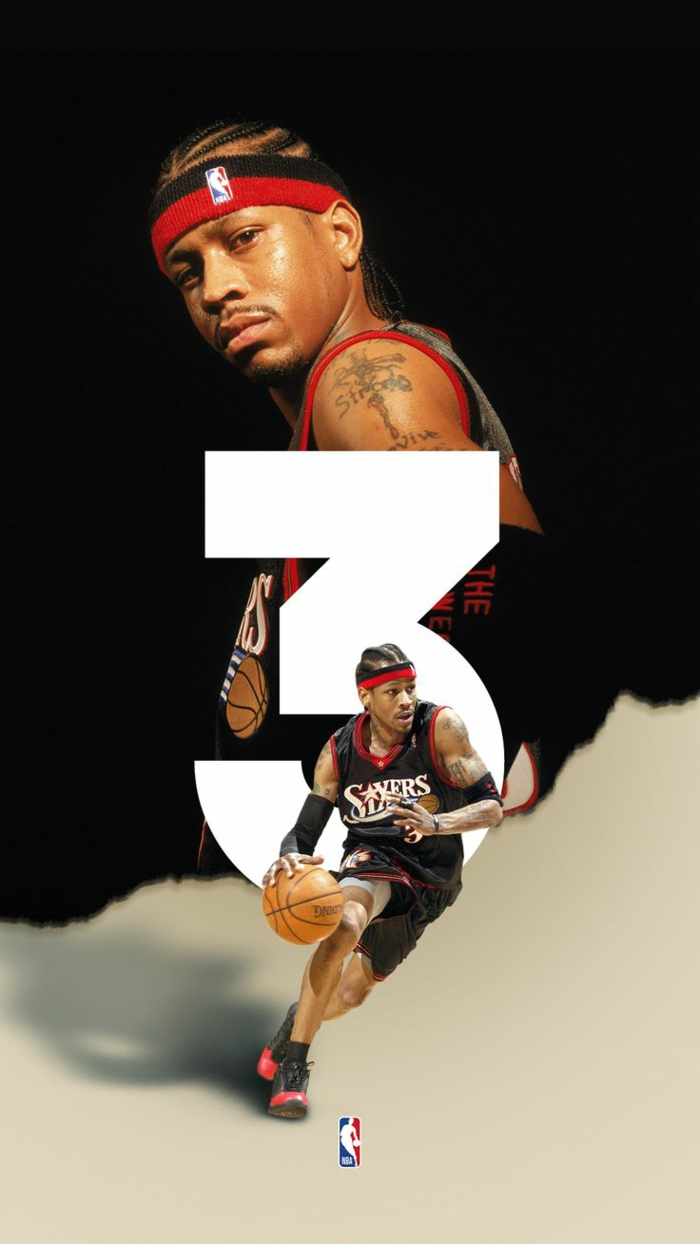 allen iverson, wearing philadelphia 76ers uniform, photo edit, basketball player wallpaper, black and white background
