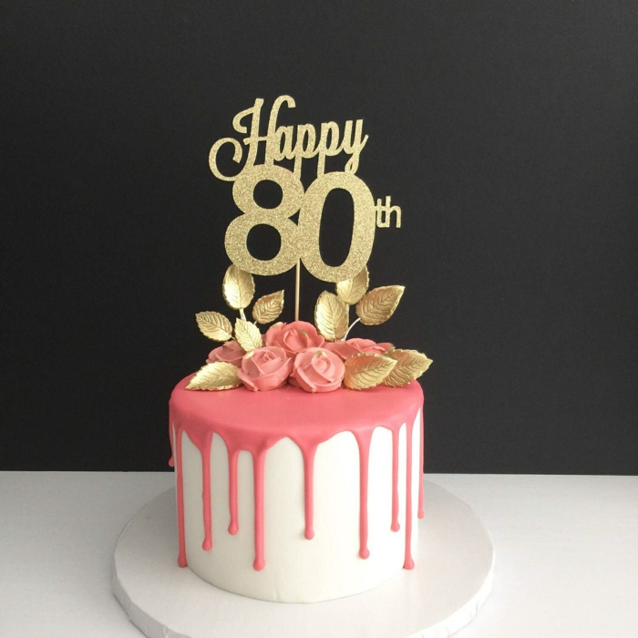 one tier cake, covered with white and pink fondant, 80th birthday party favors, gold glitter cake topper