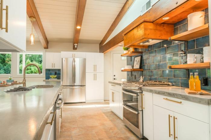 white cabinets with granite countertops, blue tiles backsplash, mid century modern backsplash tile
