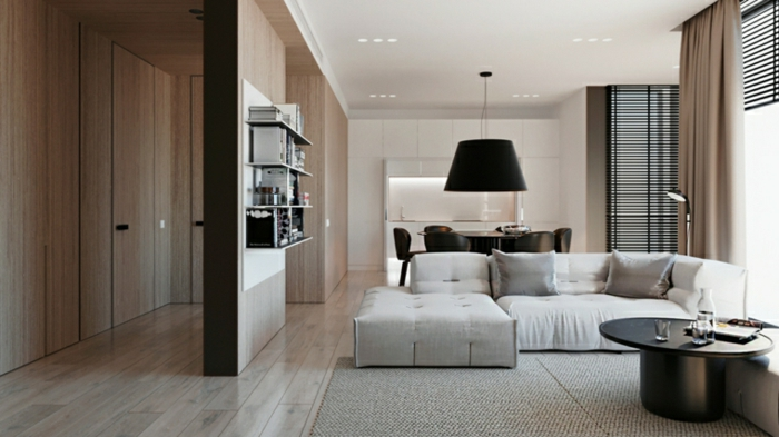 white corner sofa, wooden room separator, contemporary living room furniture, wooden floor with white carpet