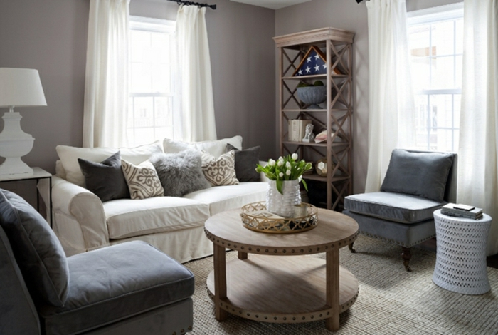 white sofa, grey armchairs, round wooden coffee table, luxury living room furniture, grey walls