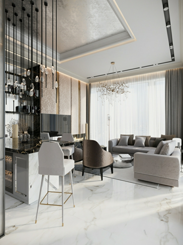 marble floor with grey carpet, white corner sofa, kitchen island with black marble countertop, contemporary living room furniture