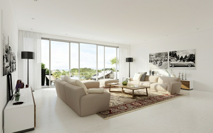 white sofas, white floor with colorful carpet, beautiful living room ideas, small coffee table