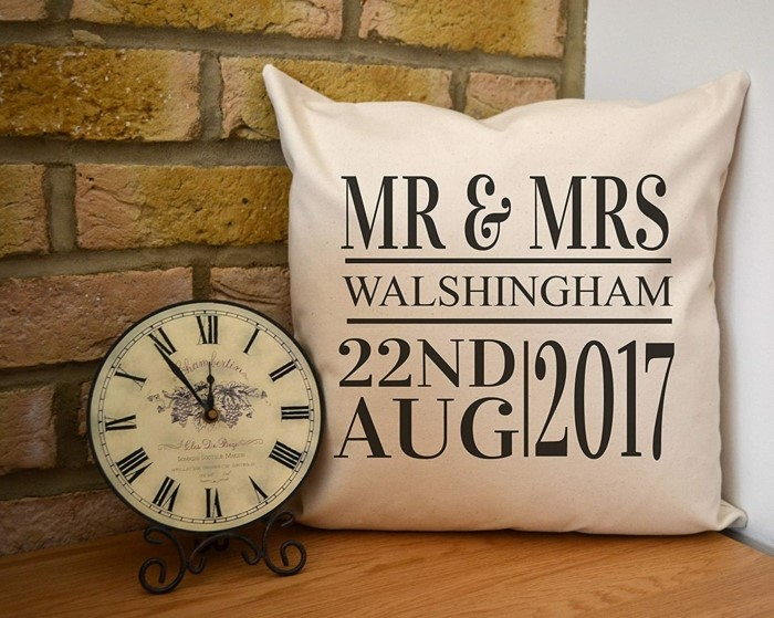 mr and mrs walshingham, personalised throw pillow, 50th anniversary gifts, pillow made from white cotton