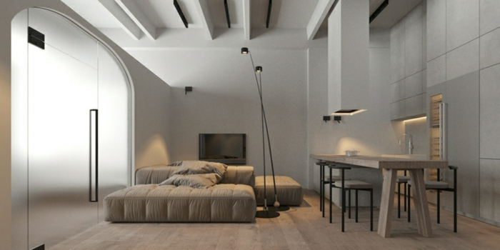 grey sofa, wooden bar with bar stools, beautiful living room ideas, wooden floor and white walls
