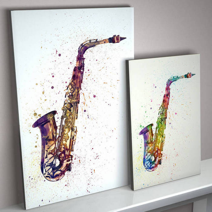 easy watercolor paintings, two side by side paintings, saxophones painted in different colors, white background