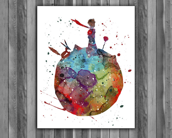 the little prince, abstract art, easy watercolor paintings, little prince sitting with the fox and the rose