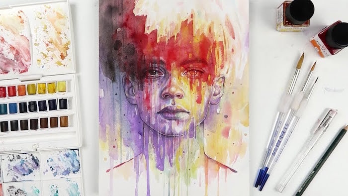 abstract painting, female face painted in different colors, easy watercolor paintings, palette with different colors