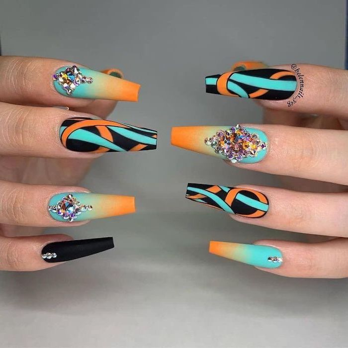 ombre nails, orange and turquoise nail polish, blue nail designs, abstract decorations with rhinestones