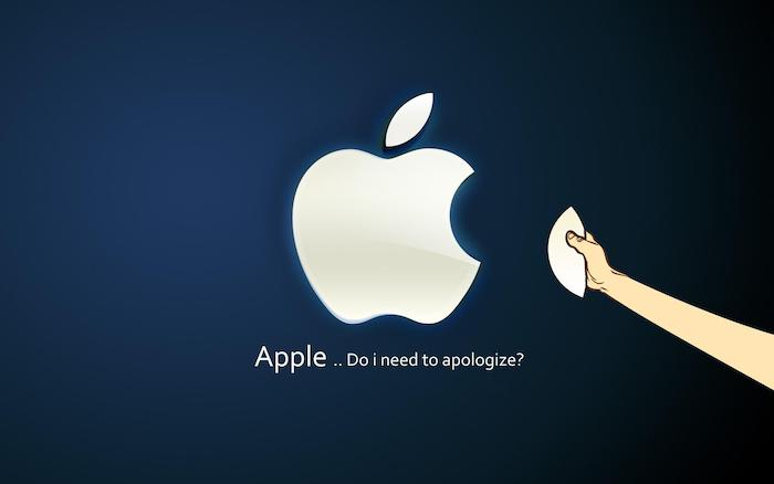 apple do i need to apologise written underneath the logo funny wallpapers dark blue background
