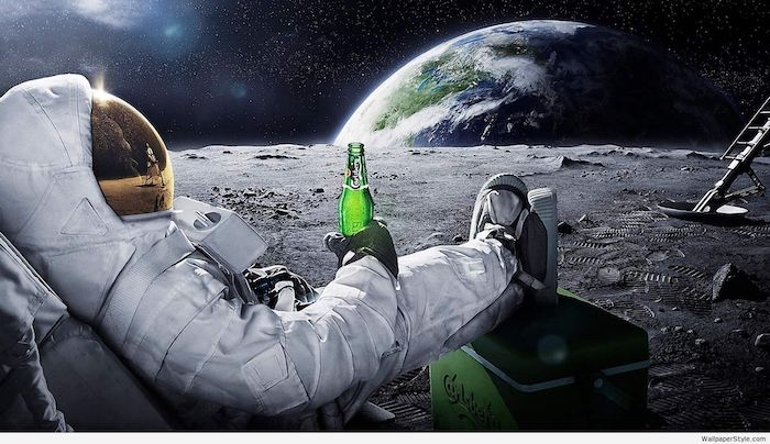 astronaut sitting on a chair on the moon looking at earth weird wallpapers holding a bottle of beer