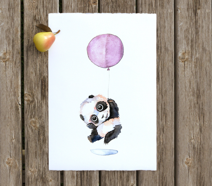 baby panda, holding a purple balloon, painted on white background, watercolor painting for beginners, placed on wooden surface