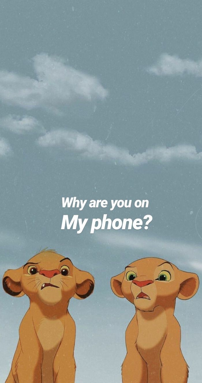 baby simba and nala cool pc backgrounds why are you on my phone written in white on grey background