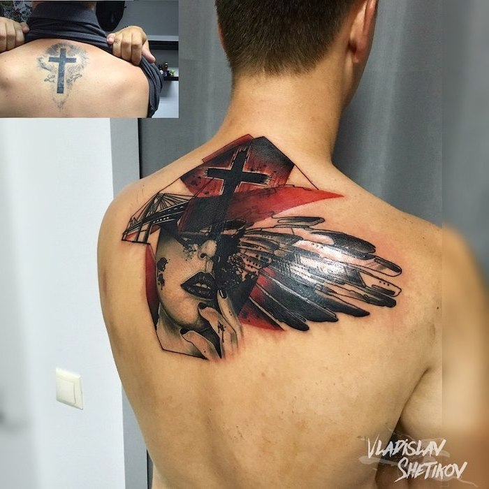 back tattoo realistic trash polka tattoos female face wings cross behind her in red and black