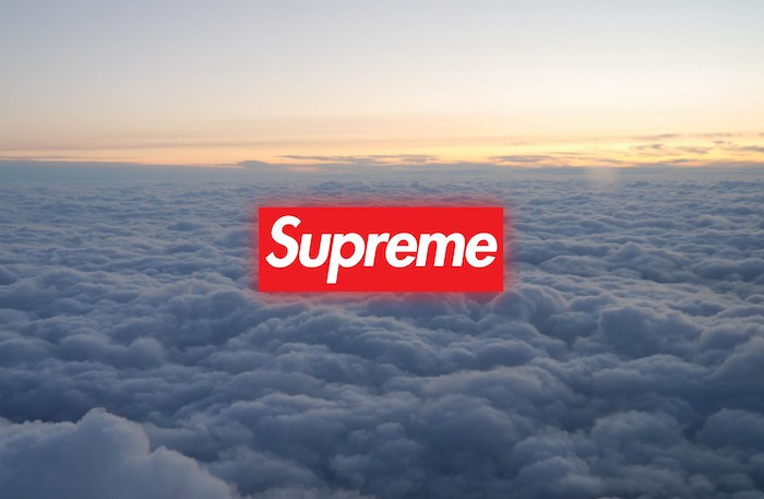 background photo taken above the clouds at sunset supreme logo written in white on red background supreme wallpaper