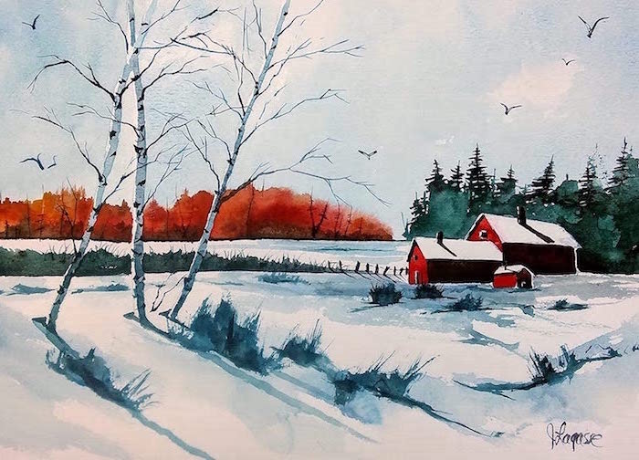 barns in the middle of field, covered with snow, watercolor painting for beginners, tall trees in the background