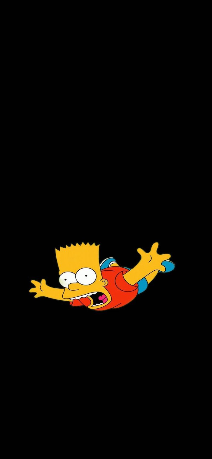bart simpson falling down with his mouth open cute funny wallpapers black background