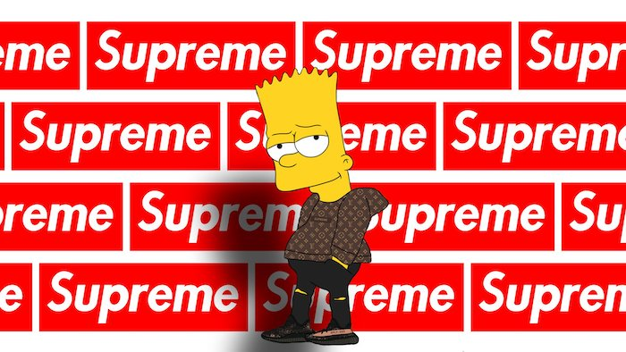 bart simpson wearing louis vuitton coat black jeans lots of supreme logos in the background supreme wallpaper iphone