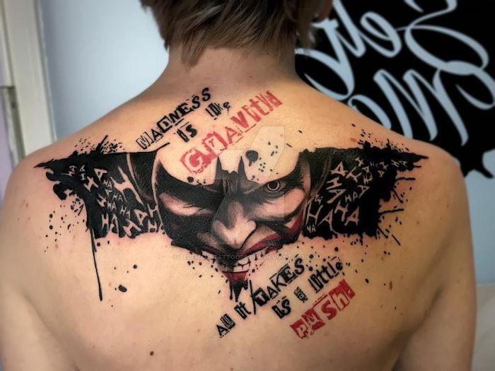 batman symbol joker tattoo madness is like gravity all it takes is a little push realistic trash polka tattoos
