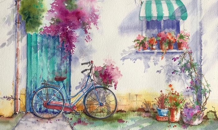 blue bicycle with flower basket, leaning on white wall and turquoise door, easy watercolor paintings, potted flowers around it