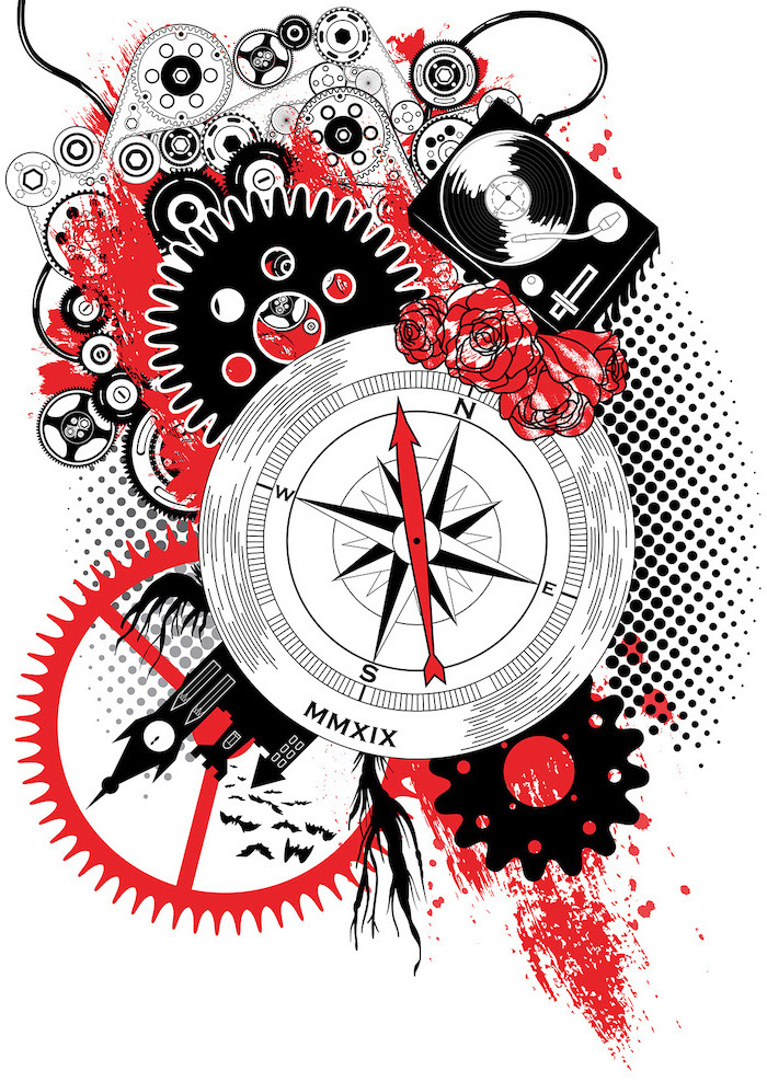 black and red drawing white trash tattoo ideas compass flowers different elements drawn on white background