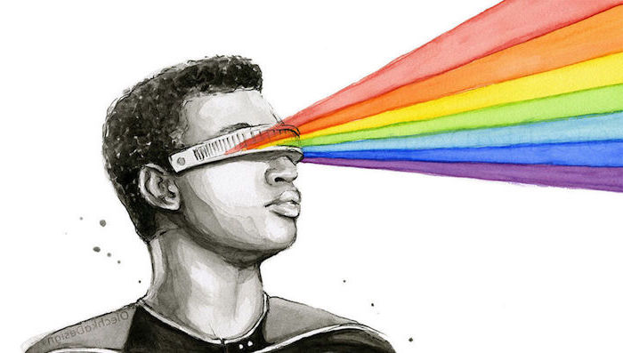 black and white drawing of a man, wearing futuristic sunglasses, watercolor ideas, rainbow shooting out of them, white background