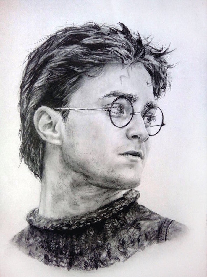 harry potter drawings, black and white pencil sketch, portrait drawing, white background