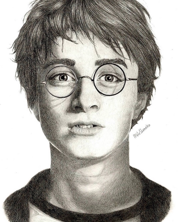 black and white pencil sketch, portrait drawing, harry potter drawings, white background