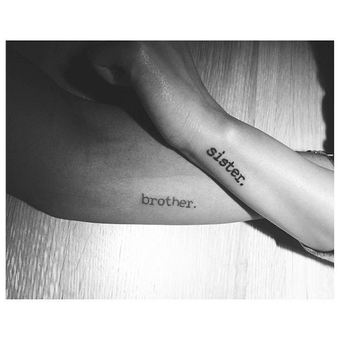 black and white photo sibling tattoos for 3 brother sister tattooed on the side of the arm