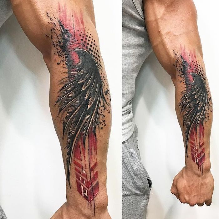 black angel wing red and black lines and dots behind it trash polka tattoo sleeve forearm tattoo