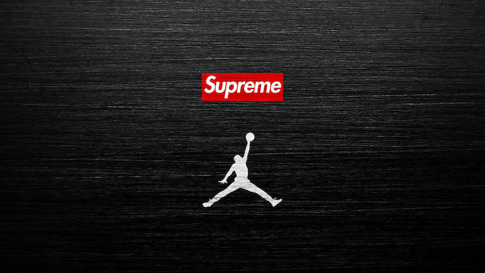 black background cool supreme wallpapers air jordan logo in white supreme logo in red and white